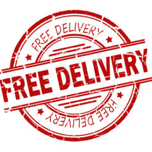 free delivery stamp on white background